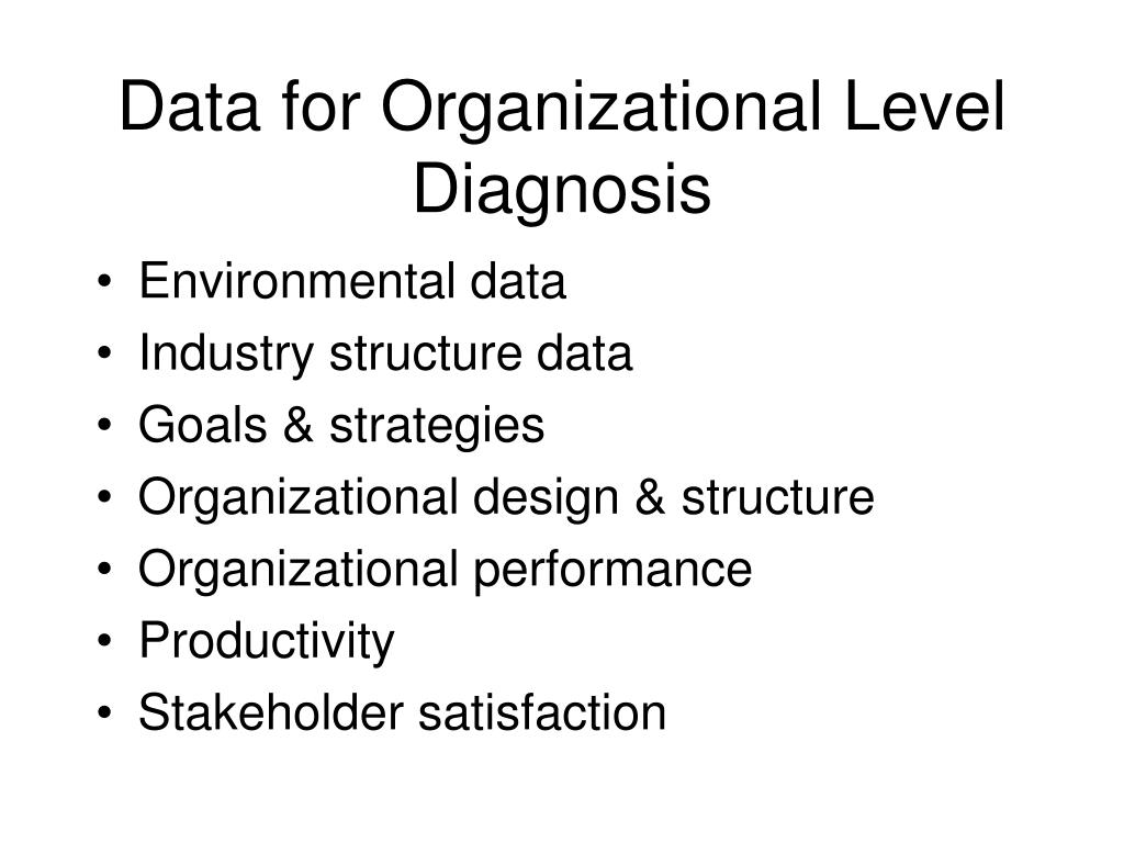 Data for Organizational Level Diagnosis