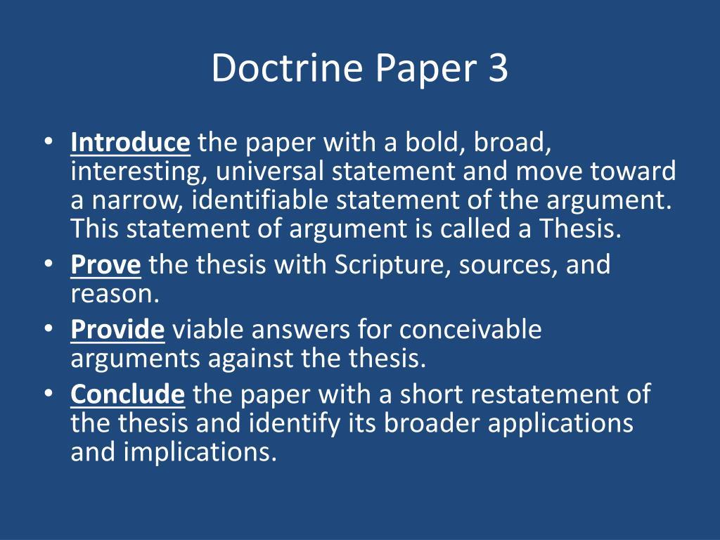 Doctrine Paper 3