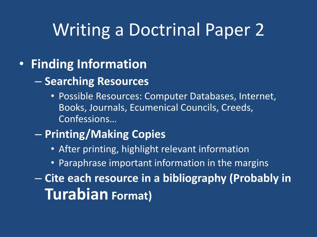 Writing a Doctrinal Paper 2