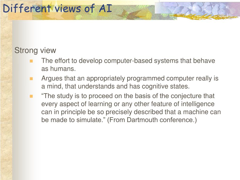 Different views of AI