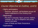 course objective outline cont d