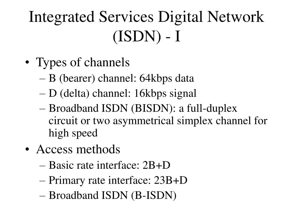 Integrated Services Digital Network (ISDN) - I