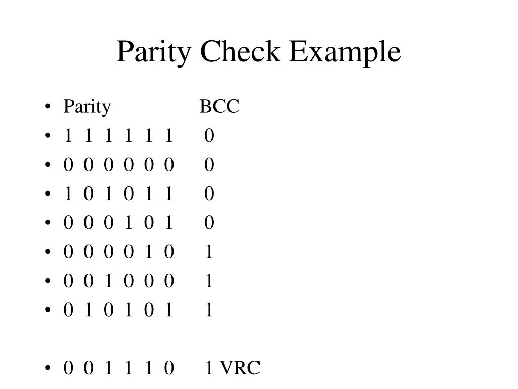 Parity Check Example