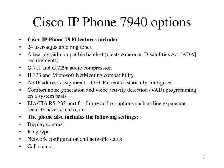 Cisco IP Phone 7940 options