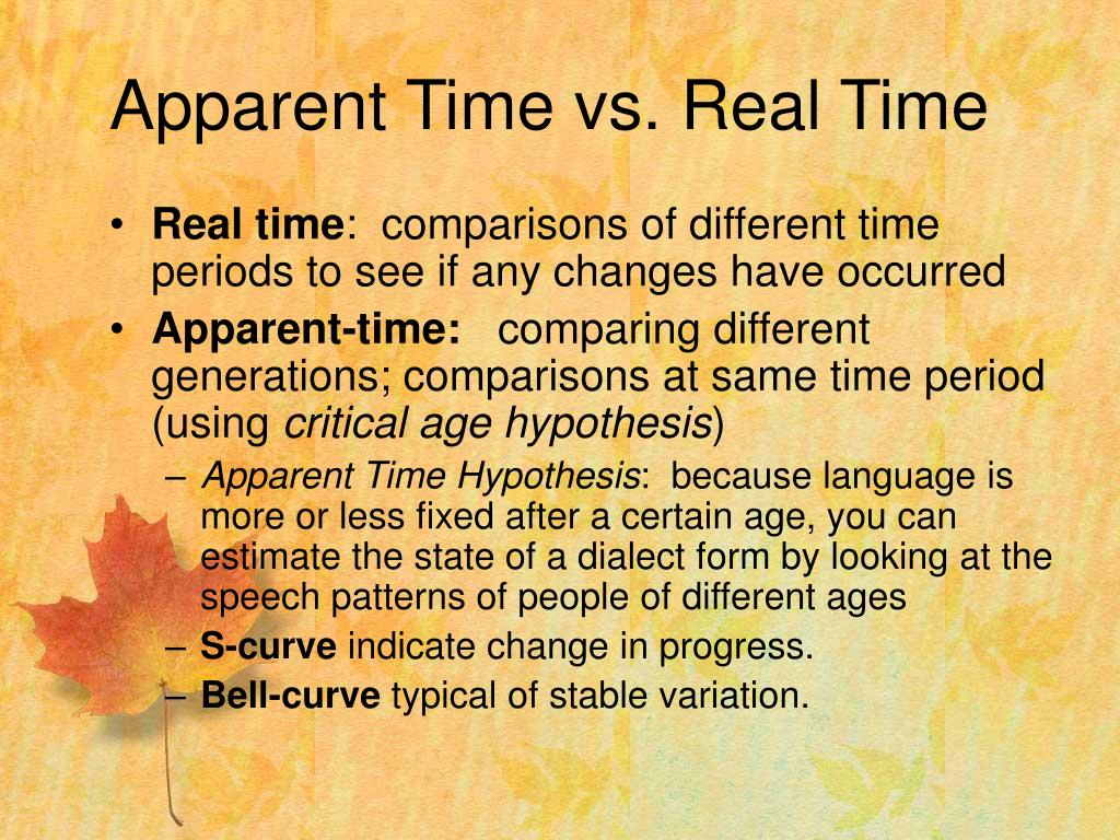 Apparent Time vs. Real Time