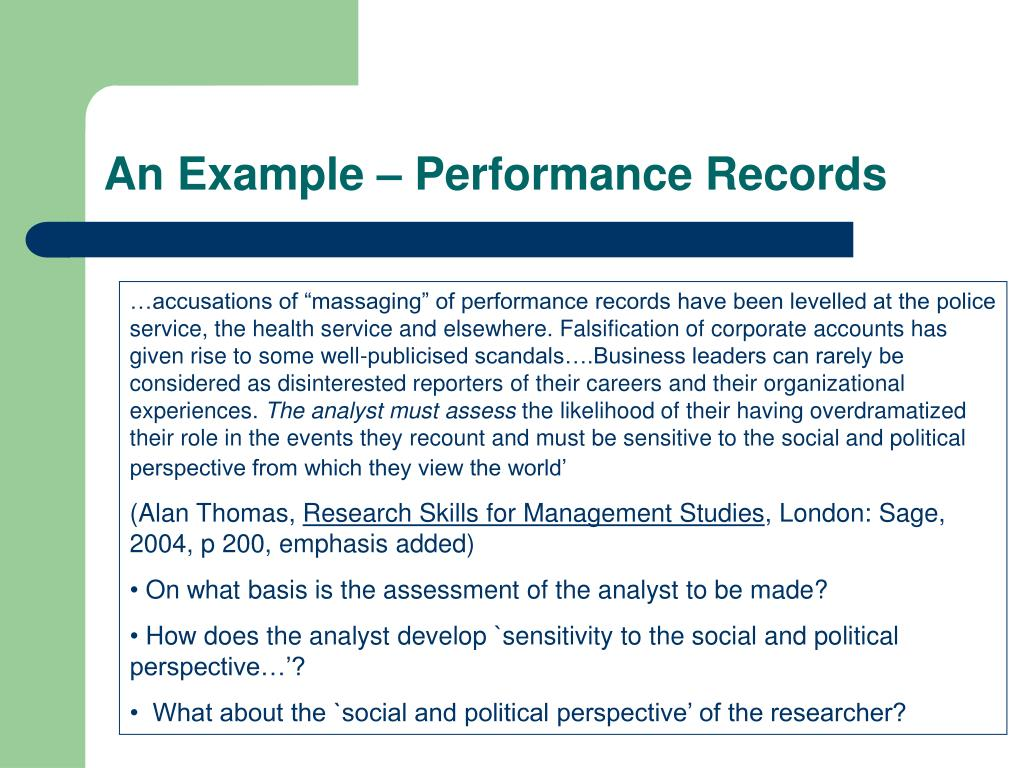 An Example – Performance Records