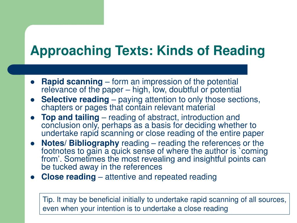 Approaching Texts: Kinds of Reading
