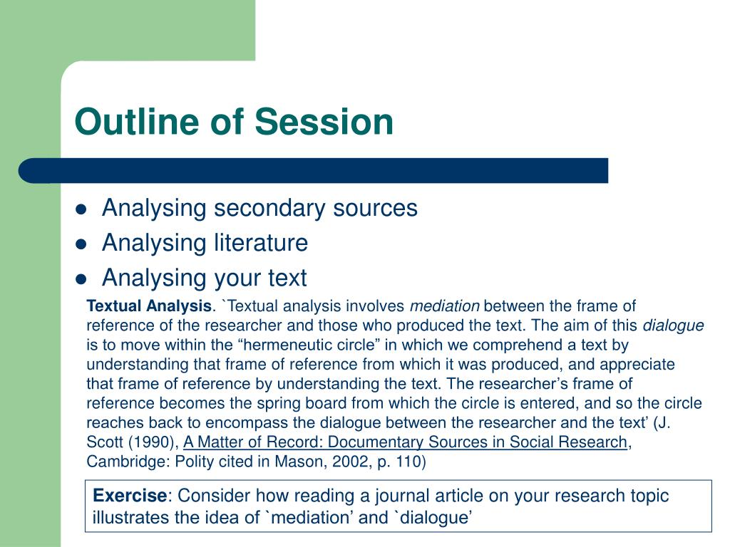 Outline of Session