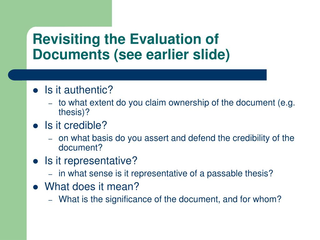 Revisiting the Evaluation of Documents (see earlier slide)