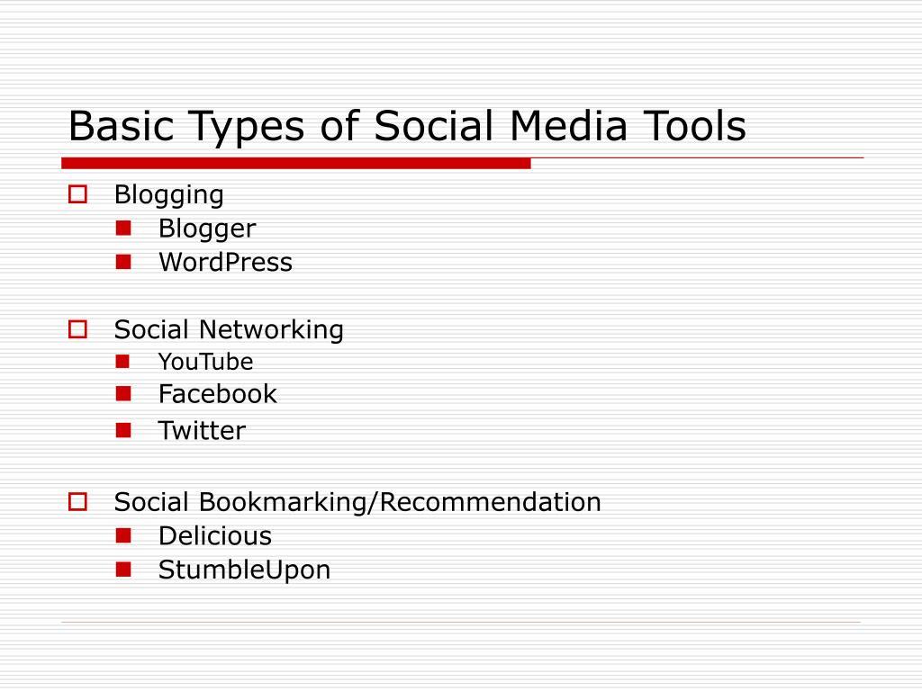 Basic Types of Social Media Tools