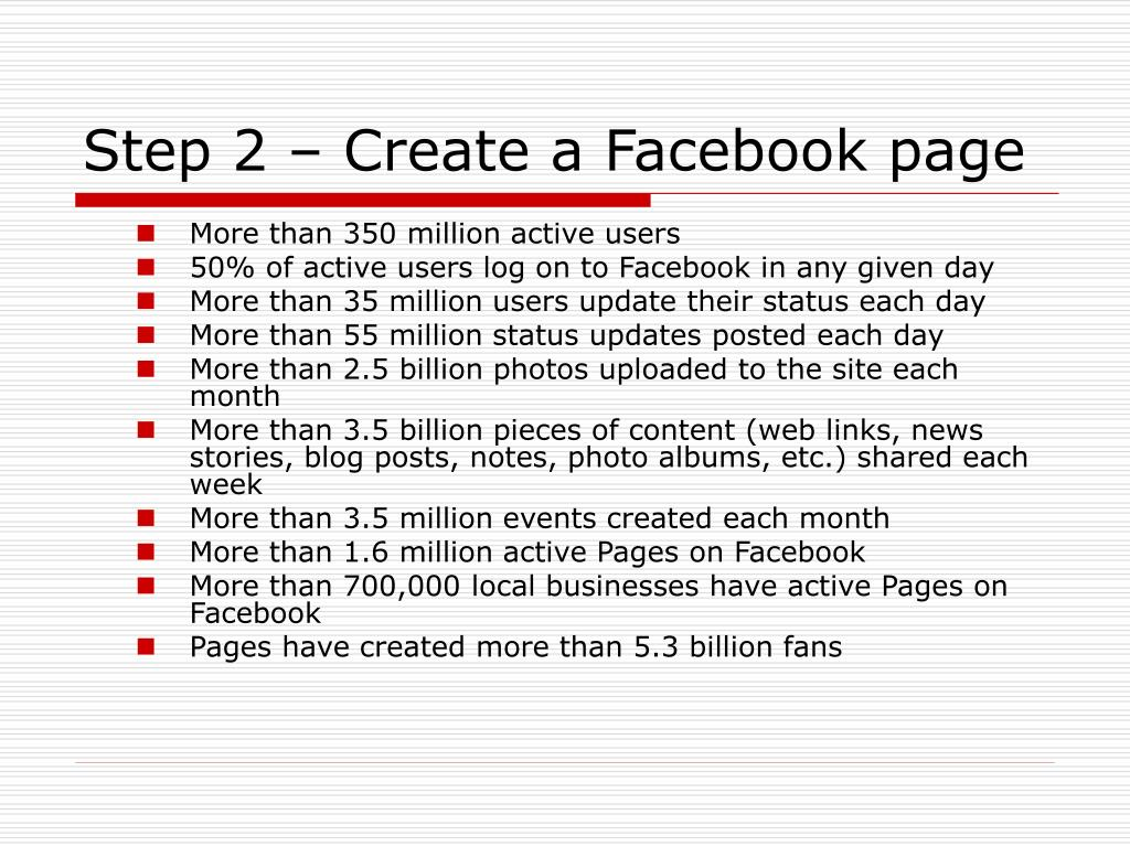 Step 2 – Create a Facebook page