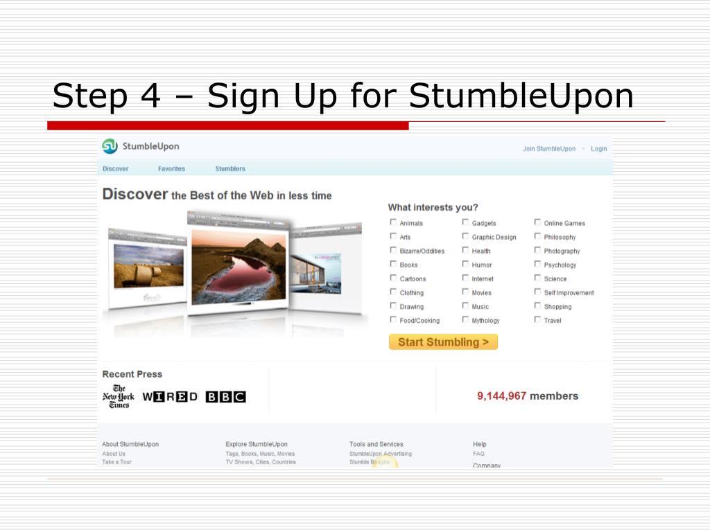 Step 4 – Sign Up for StumbleUpon