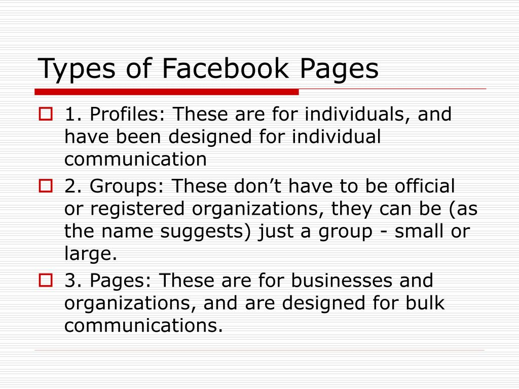 Types of Facebook Pages