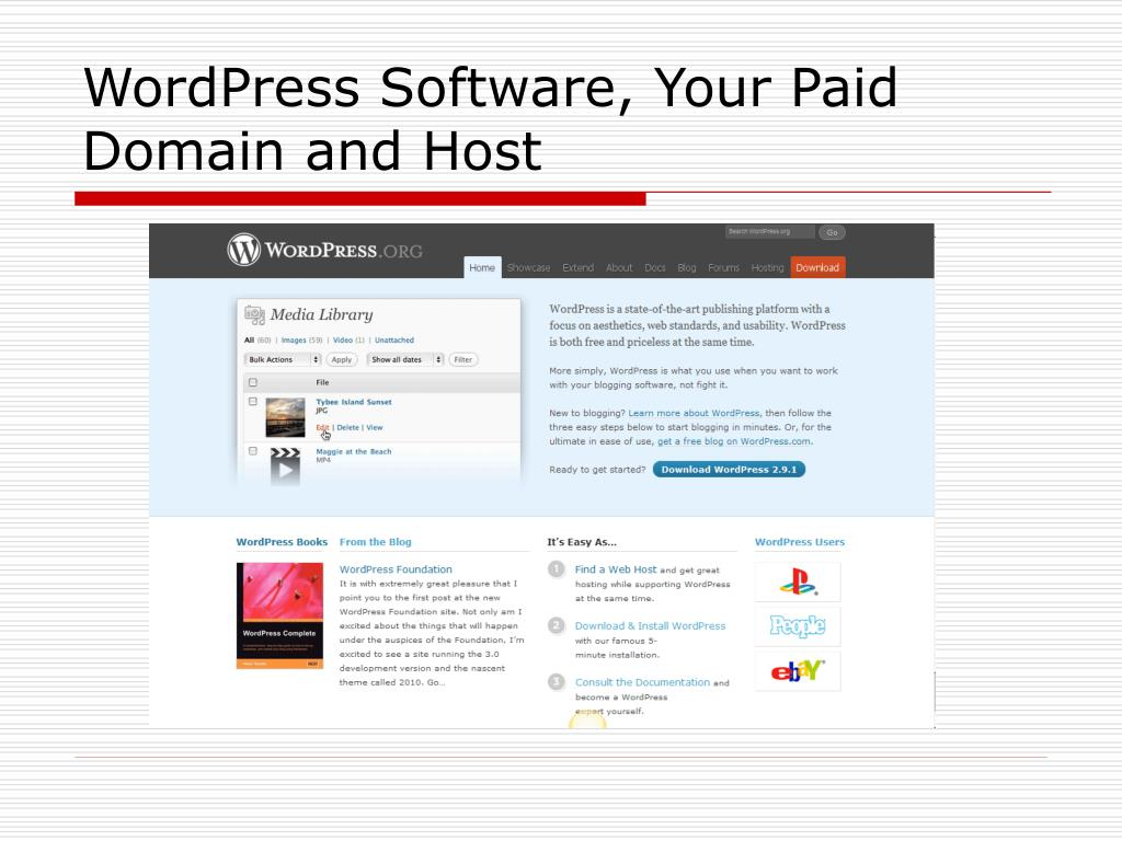 WordPress Software, Your Paid Domain and Host