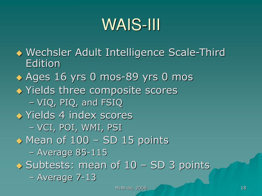 wechsler adult intelligence