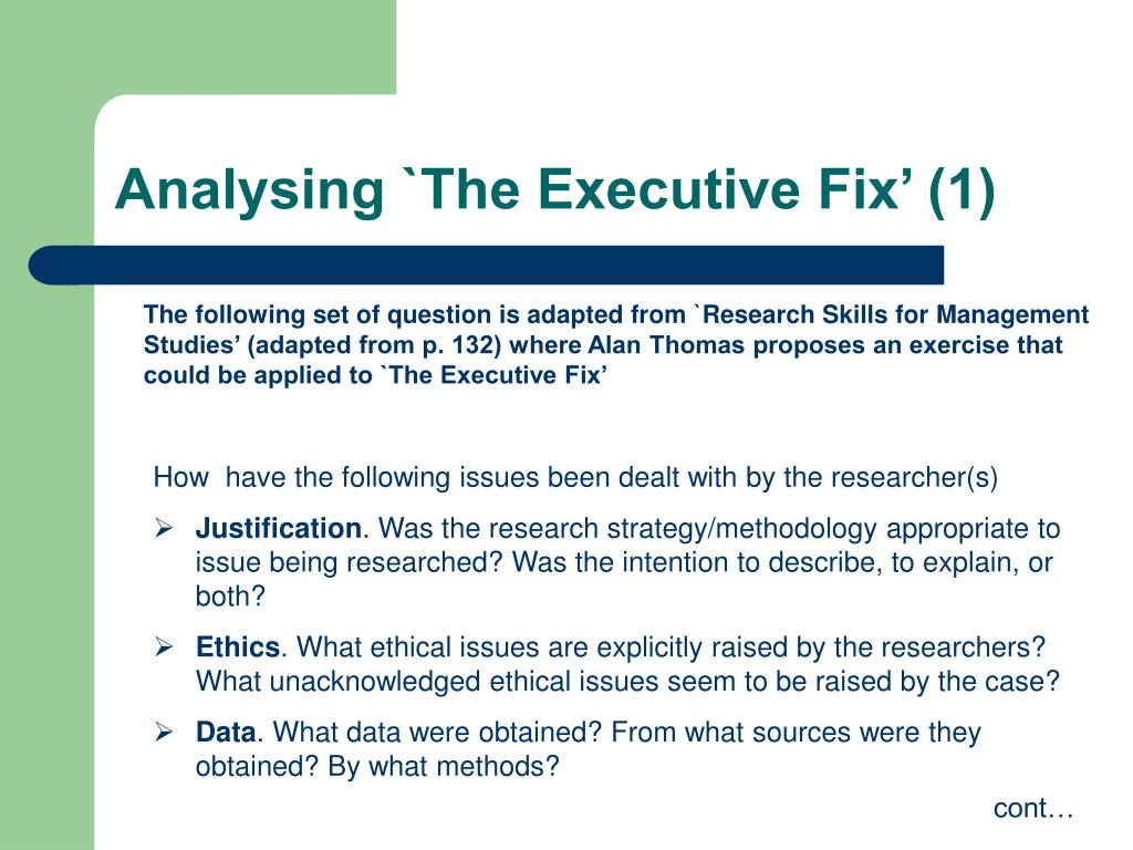 Analysing `The Executive Fix' (1)