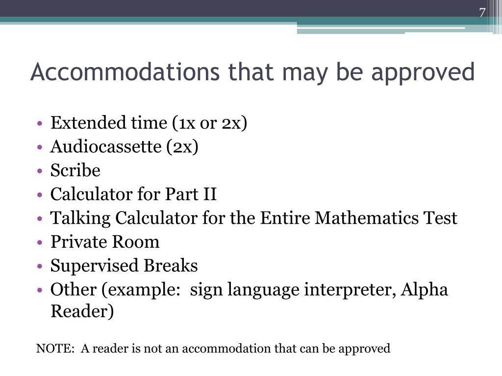 Accommodations that may be approved