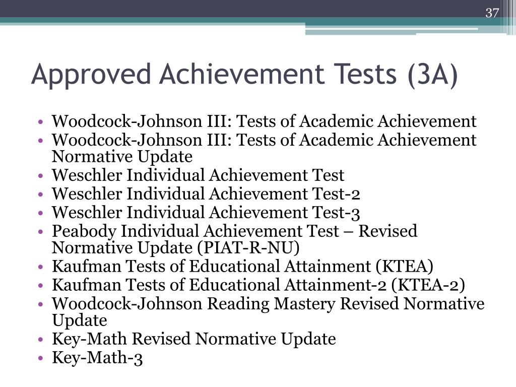 Approved Achievement Tests (3A)