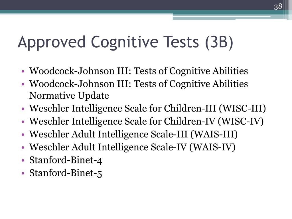 Approved Cognitive Tests (3B)