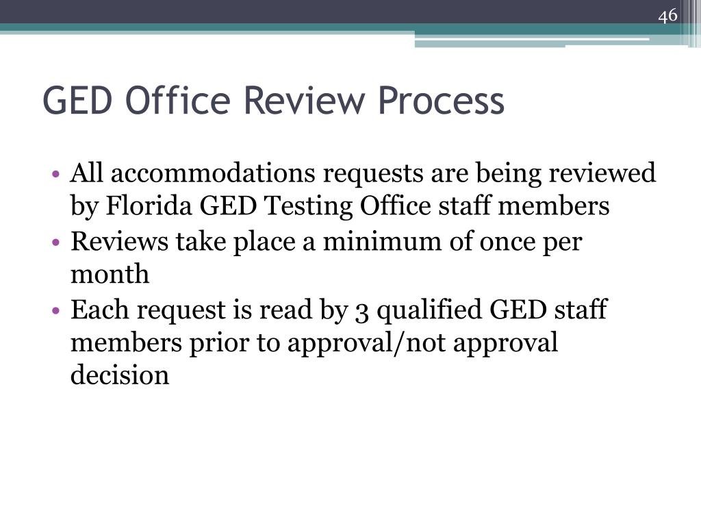 GED Office Review Process