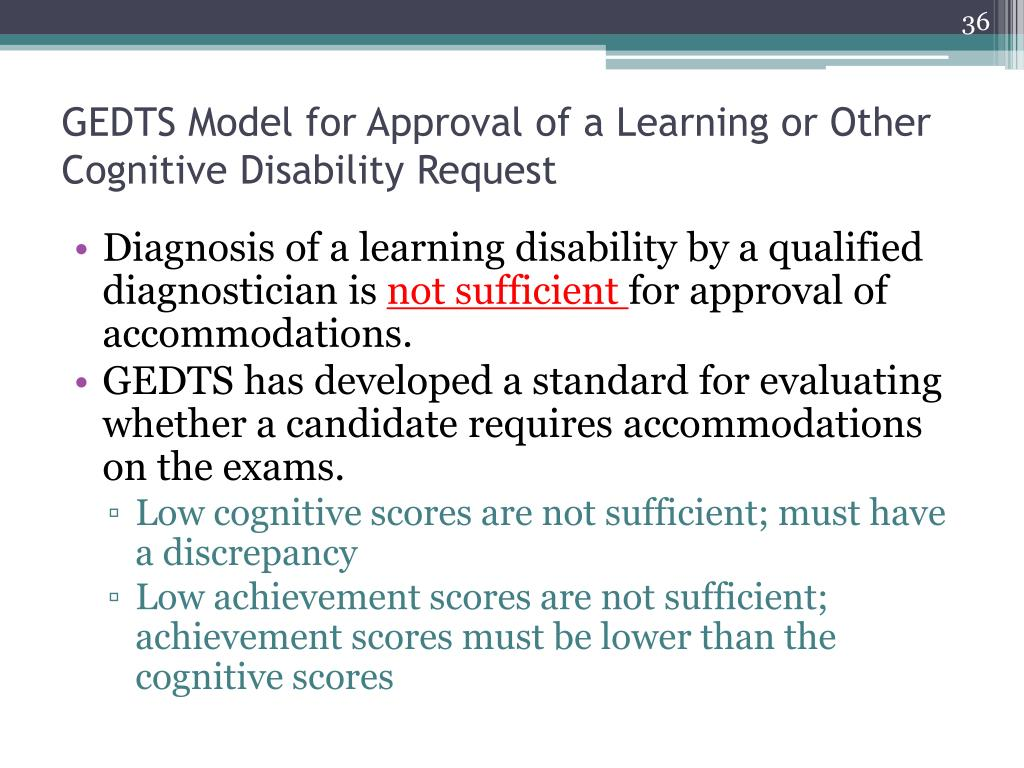 GEDTS Model for Approval of a Learning or Other Cognitive Disability Request