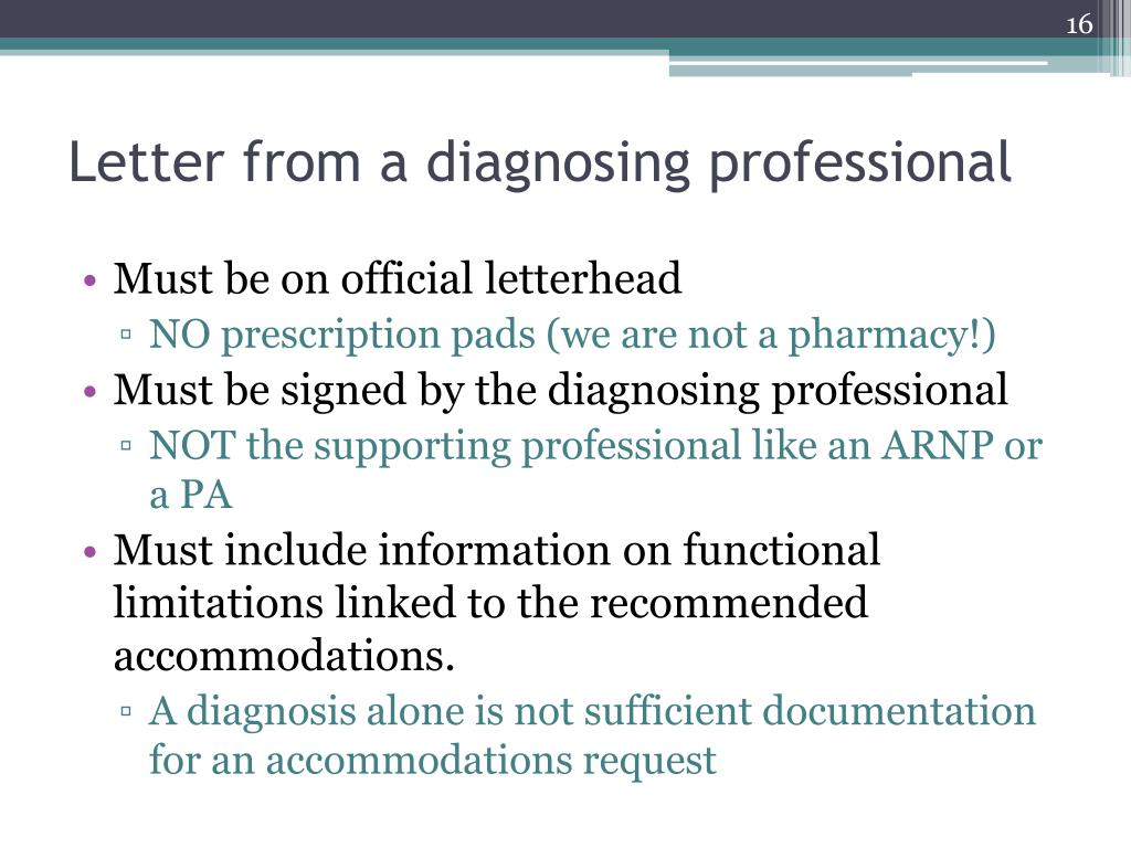 Letter from a diagnosing professional
