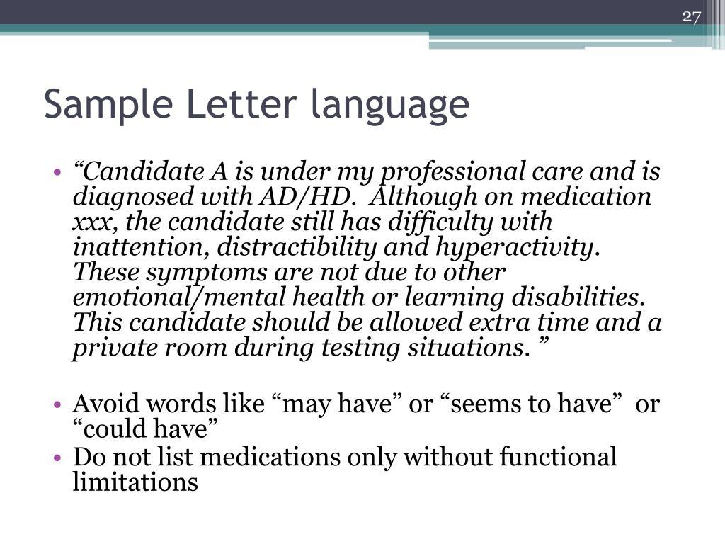 Sample Letter language