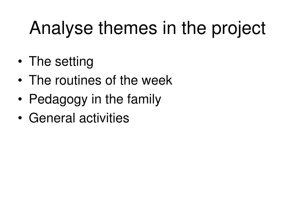 Analyse themes in the project