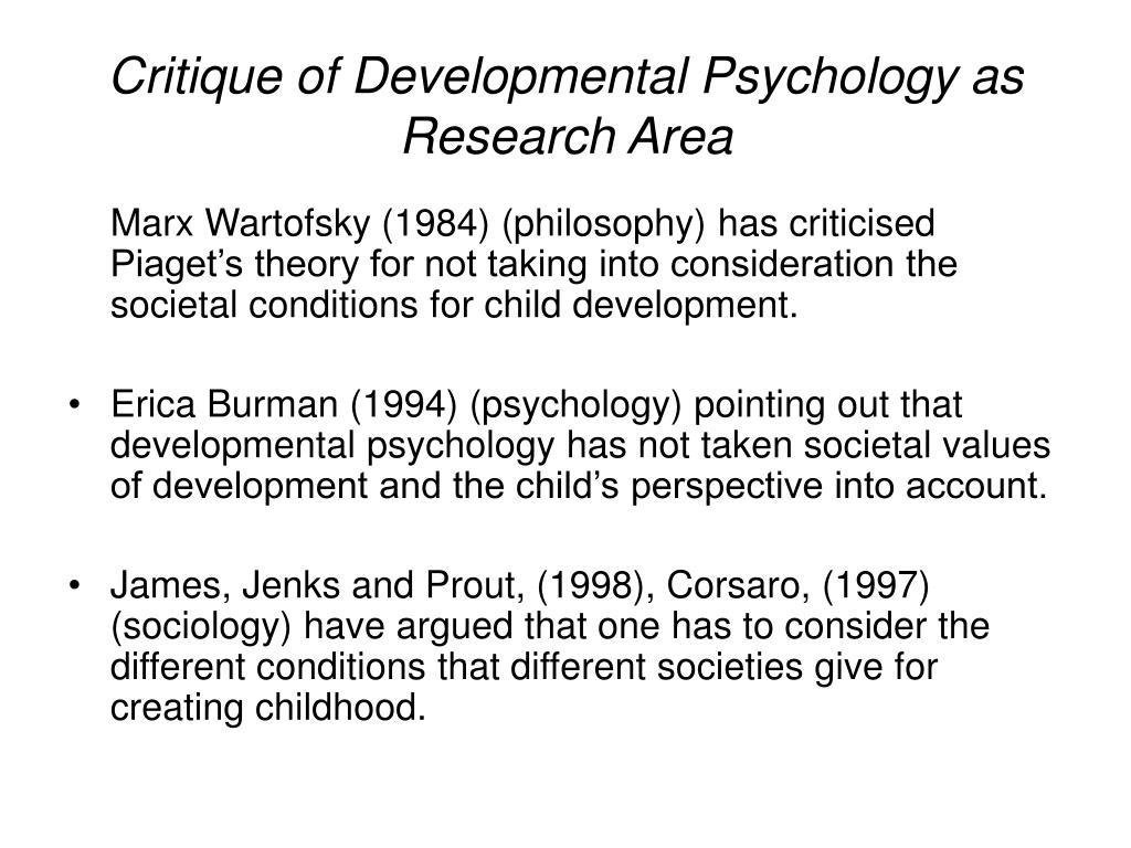 Critique of Developmental Psychology as Research Area