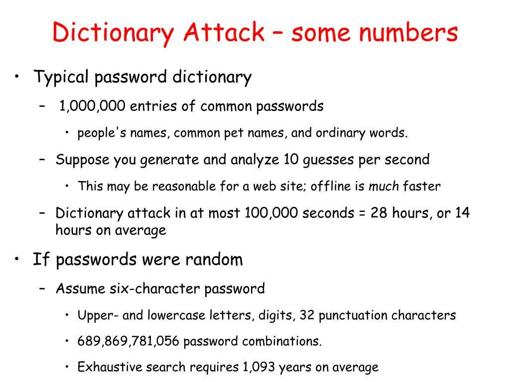 Dictionary Attack – some numbers
