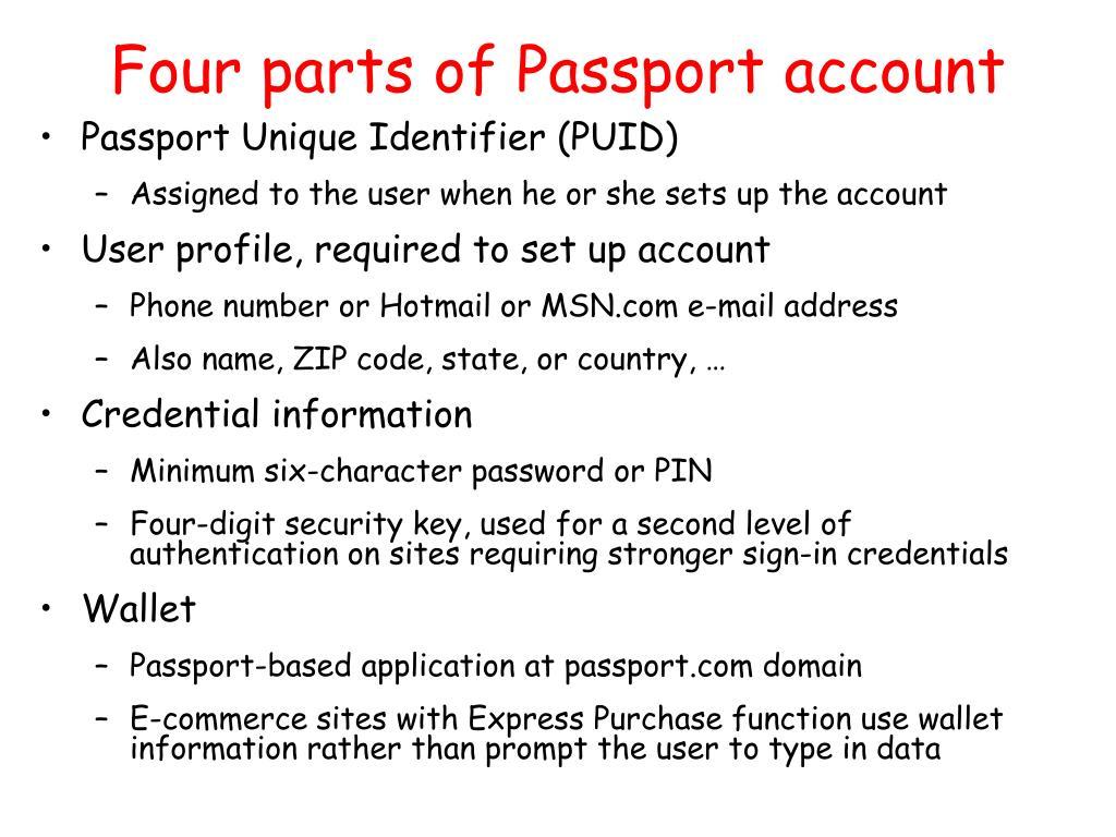 Four parts of Passport account