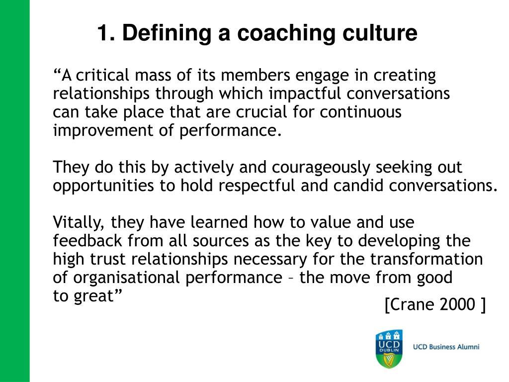 1. Defining a coaching culture