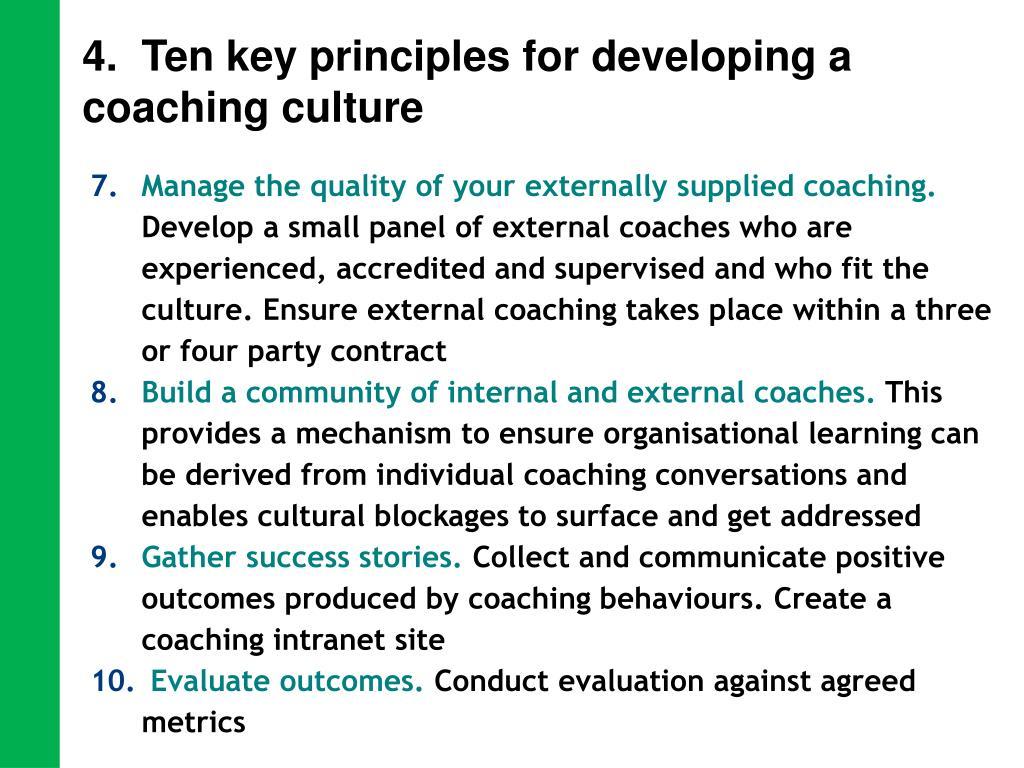 4.  Ten key principles for developing a coaching culture
