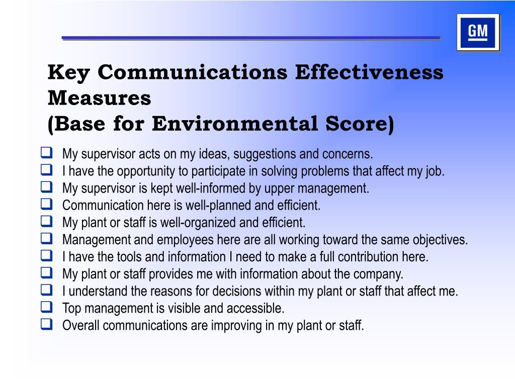 Key Communications Effectiveness Measures