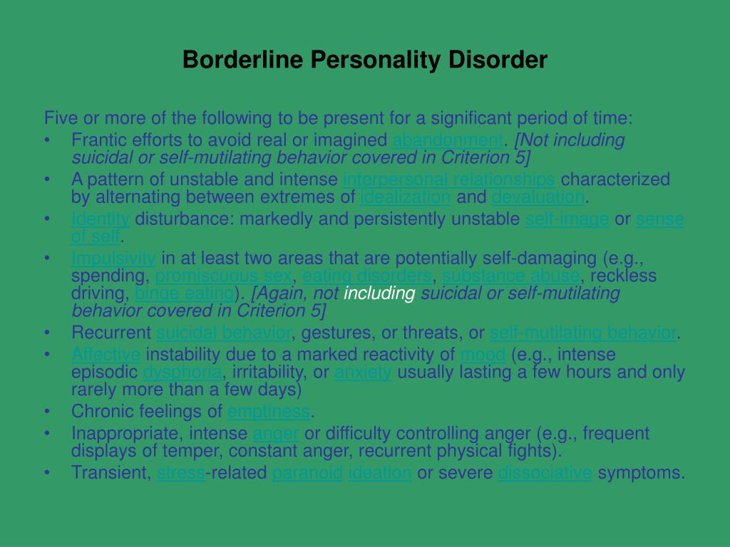 online dating borderline personality disorder Men with borderline personality disorder and she had never met his family, as michael had broken contact with them well before they started dating.