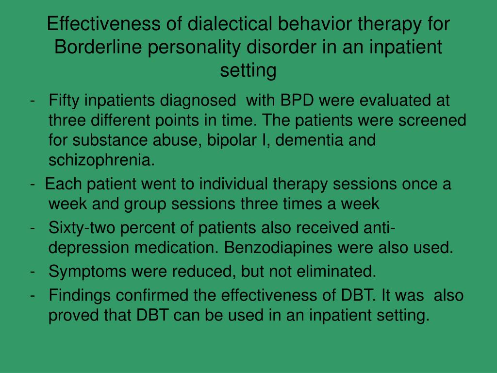Effectiveness of dialectical behavior therapy for