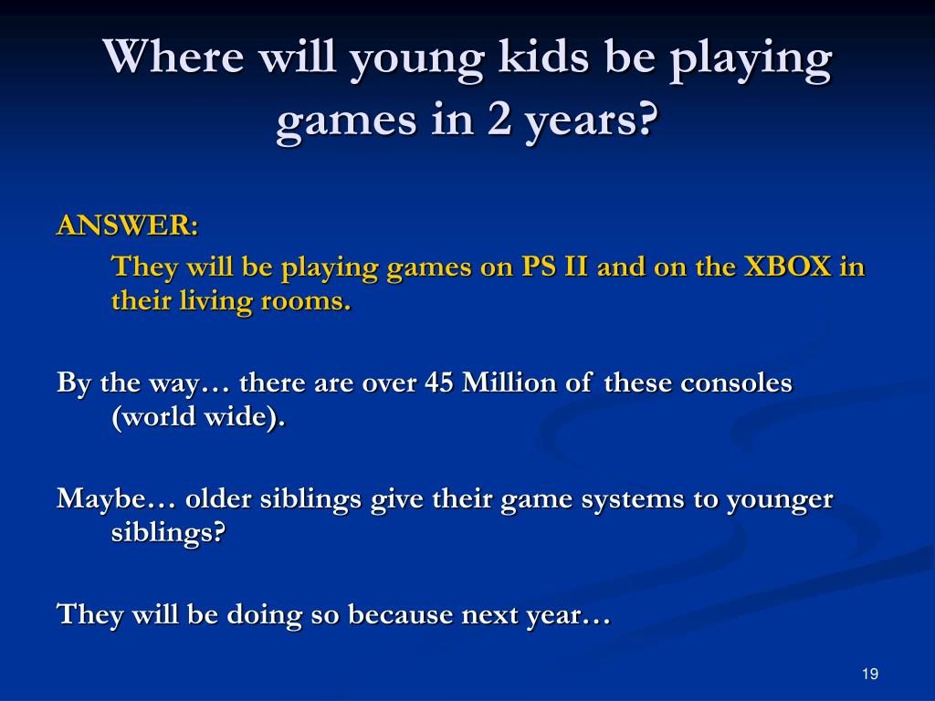 Where will young kids be playing games in 2 years?