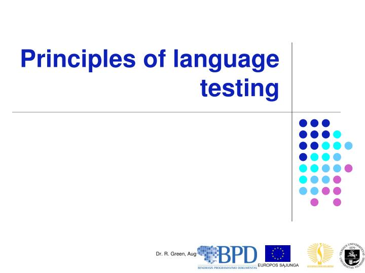 Principles of language testing