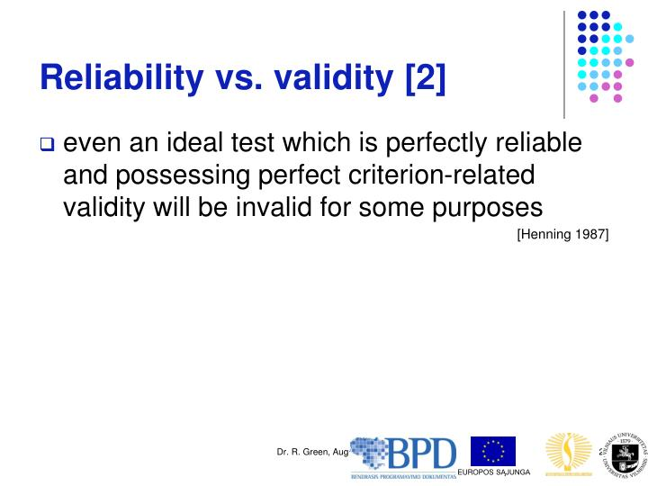 Reliability vs. validity [2]