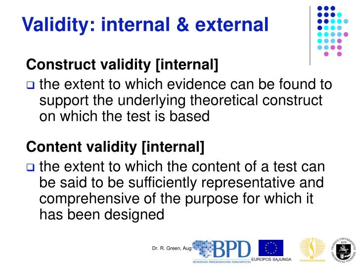 Validity: internal & external