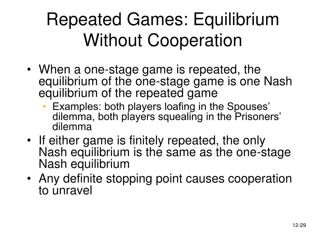 Repeated Games: Equilibrium Without Cooperation
