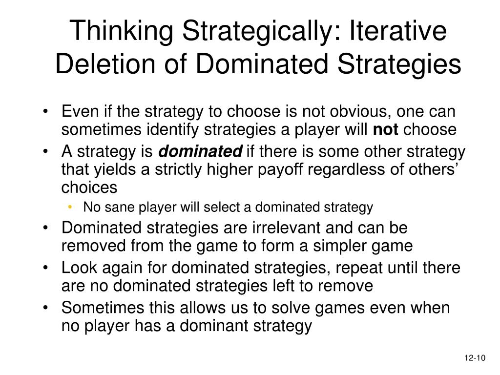 Thinking Strategically: Iterative Deletion of Dominated Strategies