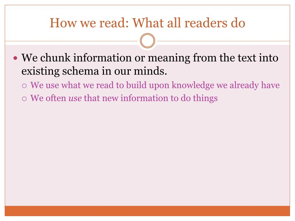 How we read: What all readers do
