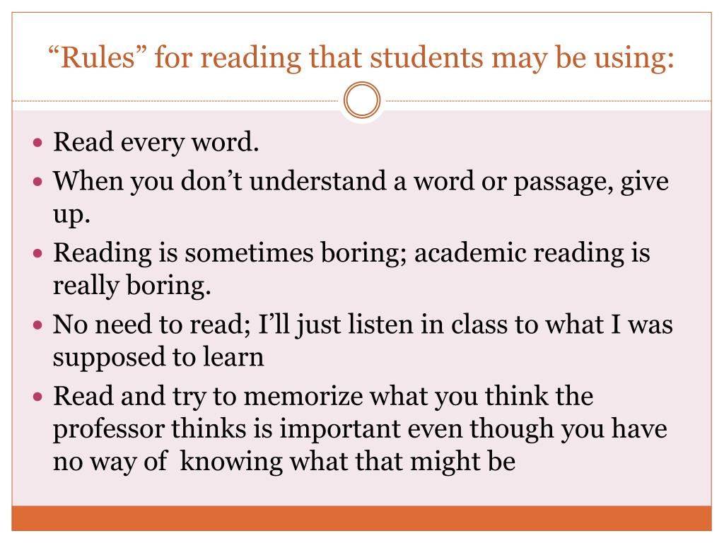 """""""Rules"""" for reading that students may be using:"""