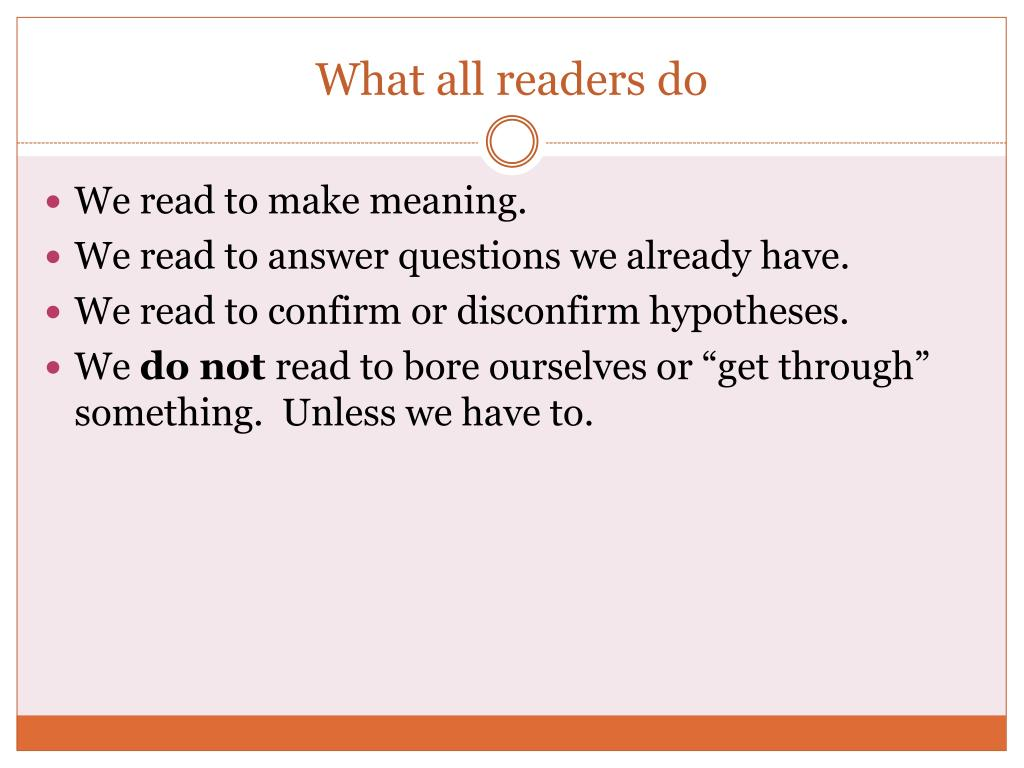 What all readers do