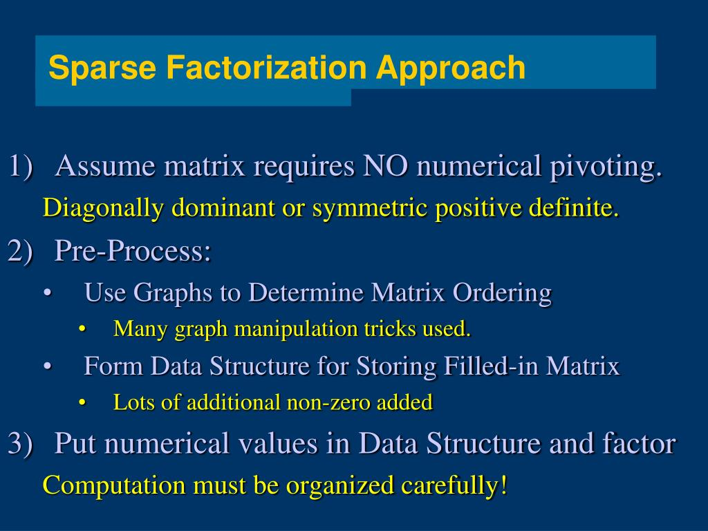 Sparse Factorization Approach