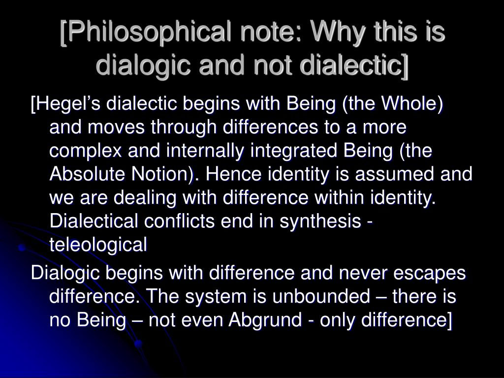 [Philosophical note: Why this is dialogic and not dialectic]