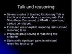 talk and reasoning