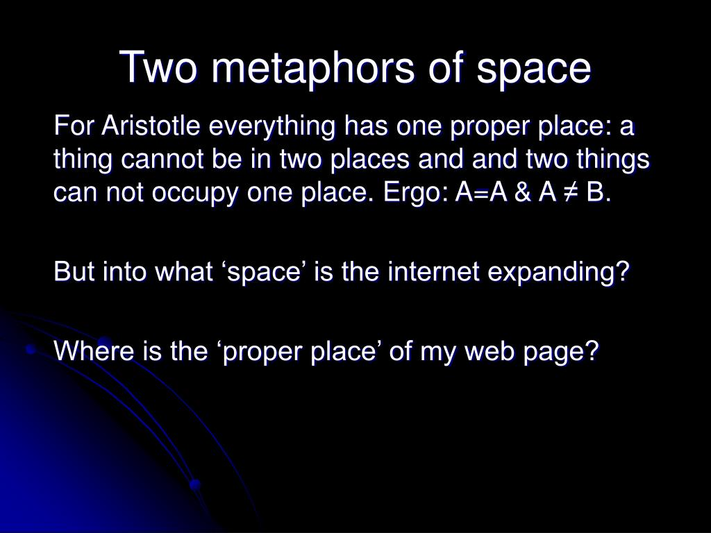 Two metaphors of space