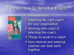 tips on how to select a coach